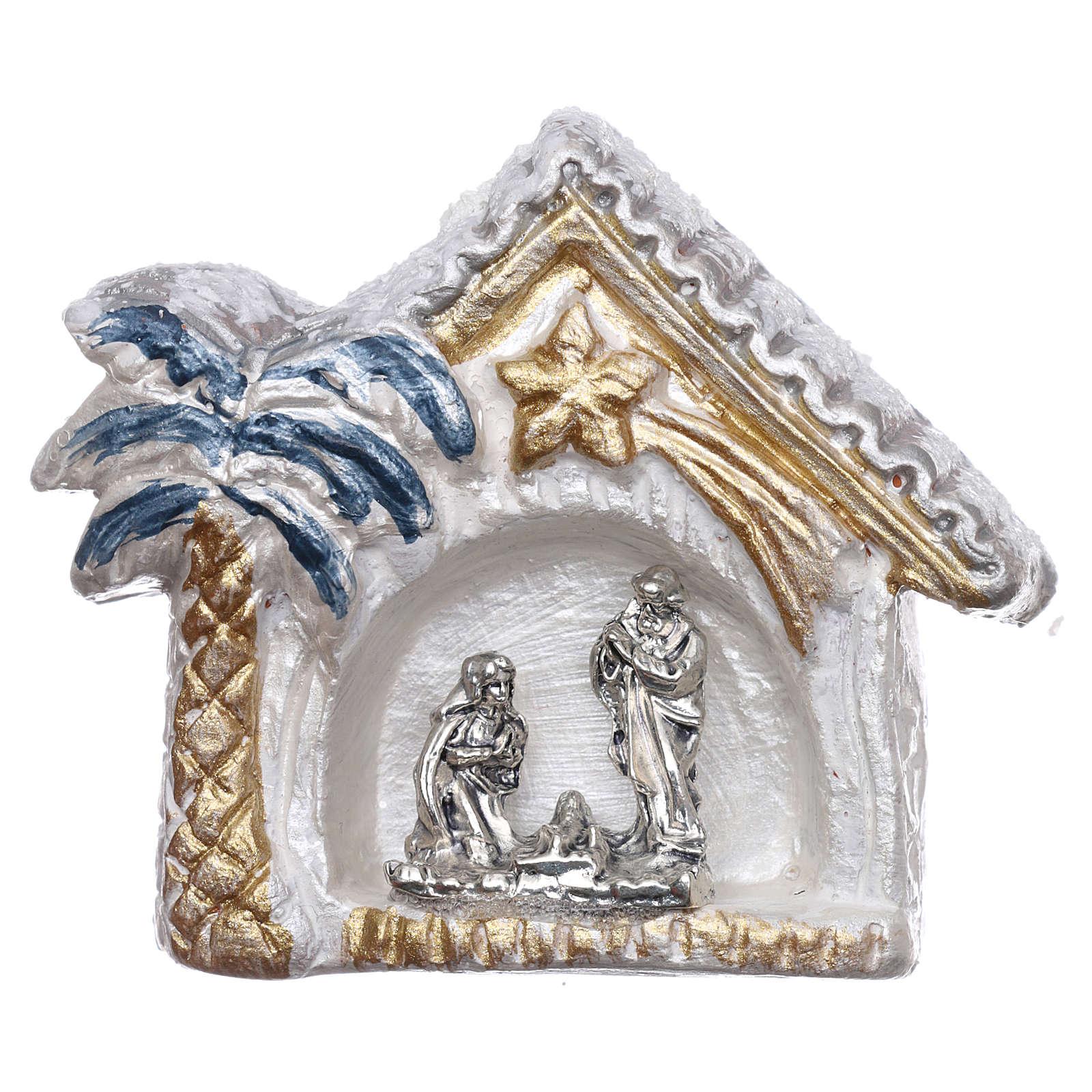 Magnete capannina bianca e oro con palma e Natività terracotta Deruta 3