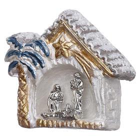 Magnete capannina bianca e oro con palma e Natività terracotta Deruta s2