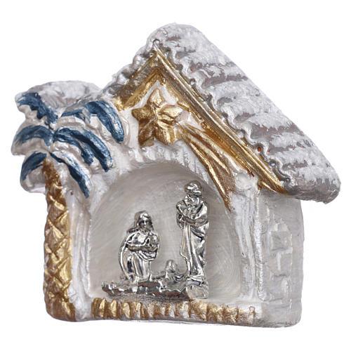 Magnete capannina bianca e oro con palma e Natività terracotta Deruta 2