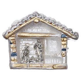 Ímanes de Santos, Nossa Senhora e Papas: Íman em forma de cabana com neve e Natividade em terracota Deruta