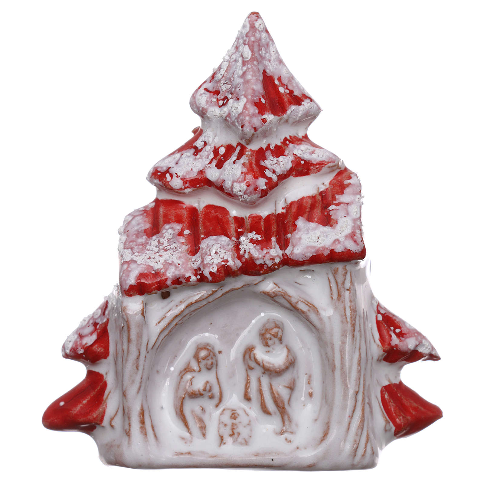 Magnet Snowy Red Christmas Tree And Nativity Scene In Deruta Terracotta