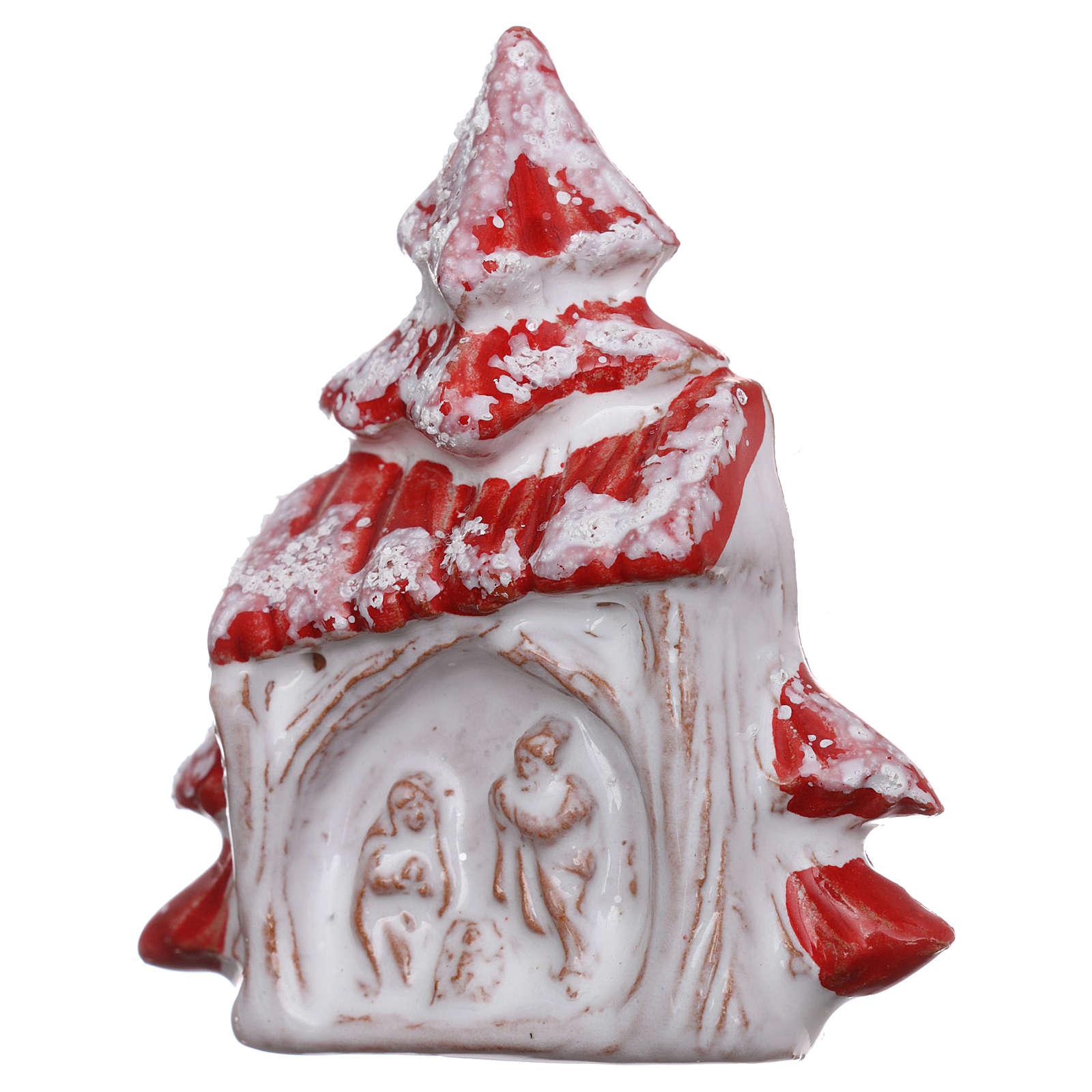 Imán árbol de navidad rojo nevado con Natividad terracota Deruta 3