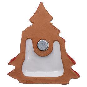 Imán árbol de navidad rojo nevado con Natividad terracota Deruta s3