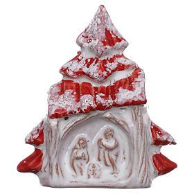 Ímanes de Santos, Nossa Senhora e Papas: Íman árvore de Natal vermelha nevada com Natividade terracota Deruta