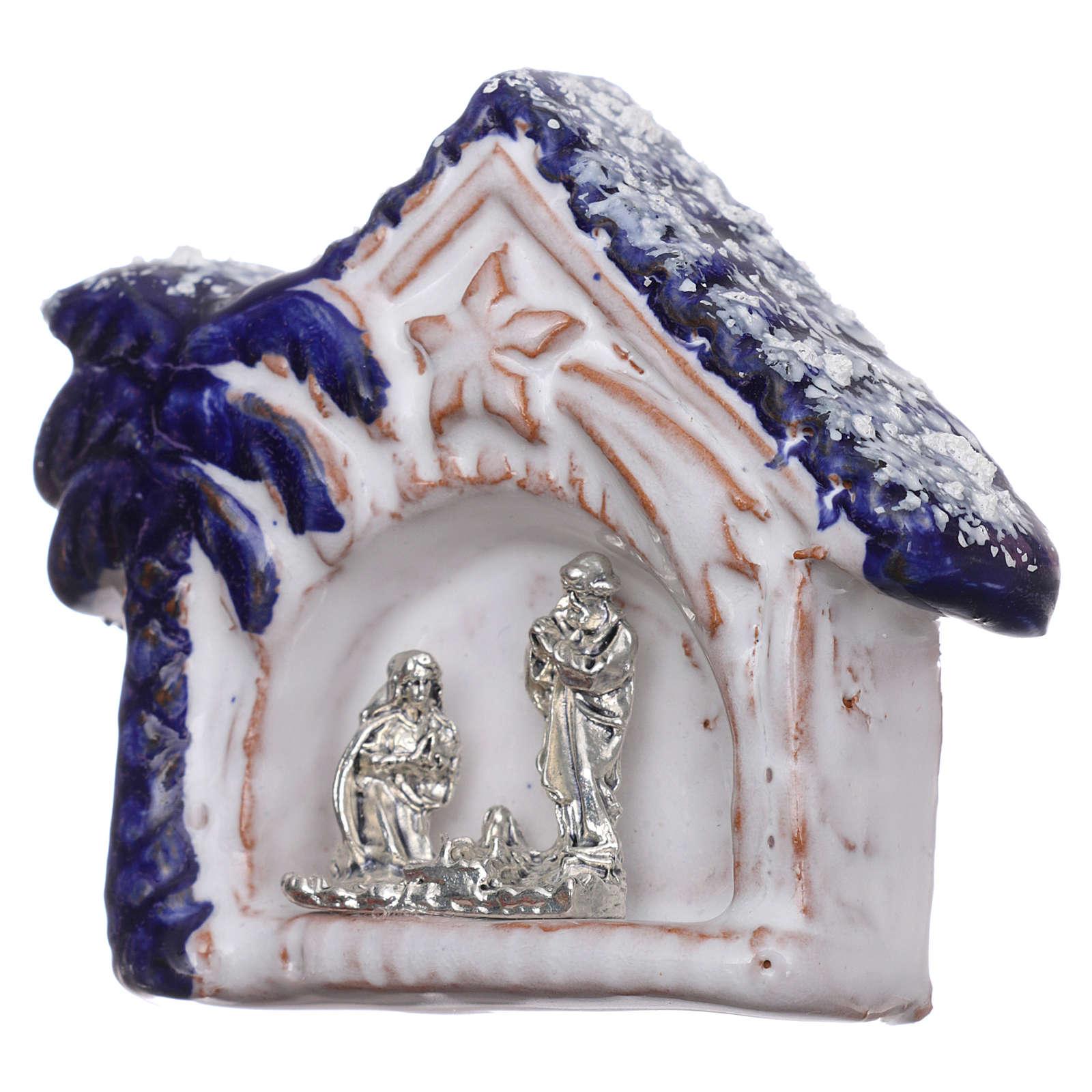 Magnete capannina innevata con palma blu con Natività terracotta Deruta 3