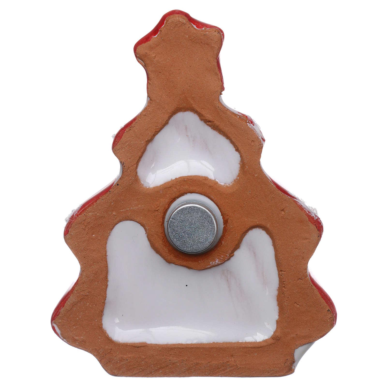 Imán árbol de Navidad rojo lúcido con Natividad terracota Deruta 3