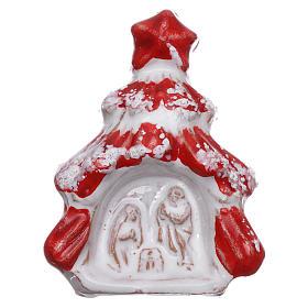 Aimant sapin de Noël rouge brillant avec Nativité terre cuite Deruta s1