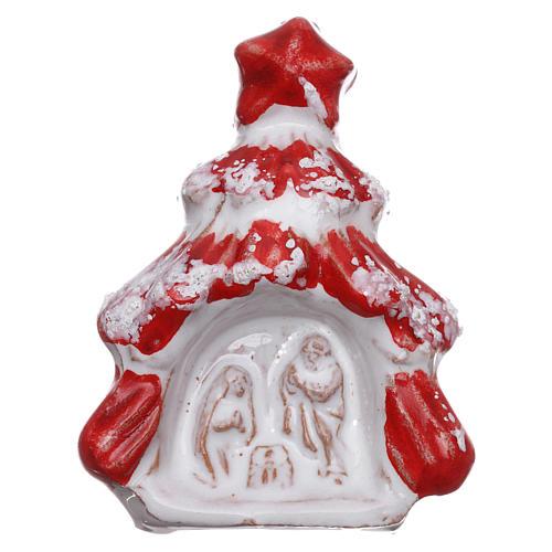 Aimant sapin de Noël rouge brillant avec Nativité terre cuite Deruta 1