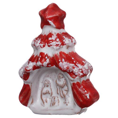 Aimant sapin de Noël rouge brillant avec Nativité terre cuite Deruta 2