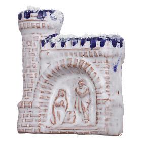 Calamita castello bianco con bassorilievo della Natività in terracotta Deruta s2