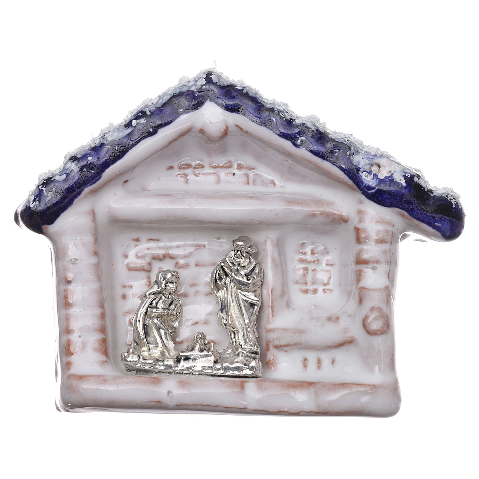 Magnet hut with blue roof and Nativity Scene in Deruta terracotta 3