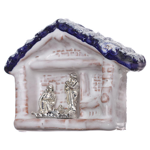 Magnet hut with blue roof and Nativity Scene in Deruta terracotta 2