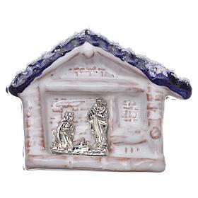 Magnete capannina con tetto blu e Natività terracotta Deruta s1