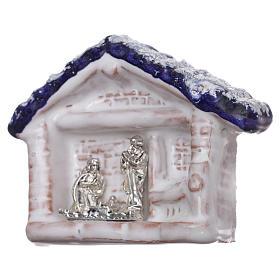 Magnete capannina con tetto blu e Natività terracotta Deruta s2