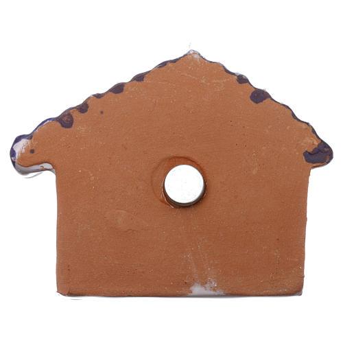 Magnete capannina con tetto blu e Natività terracotta Deruta 3