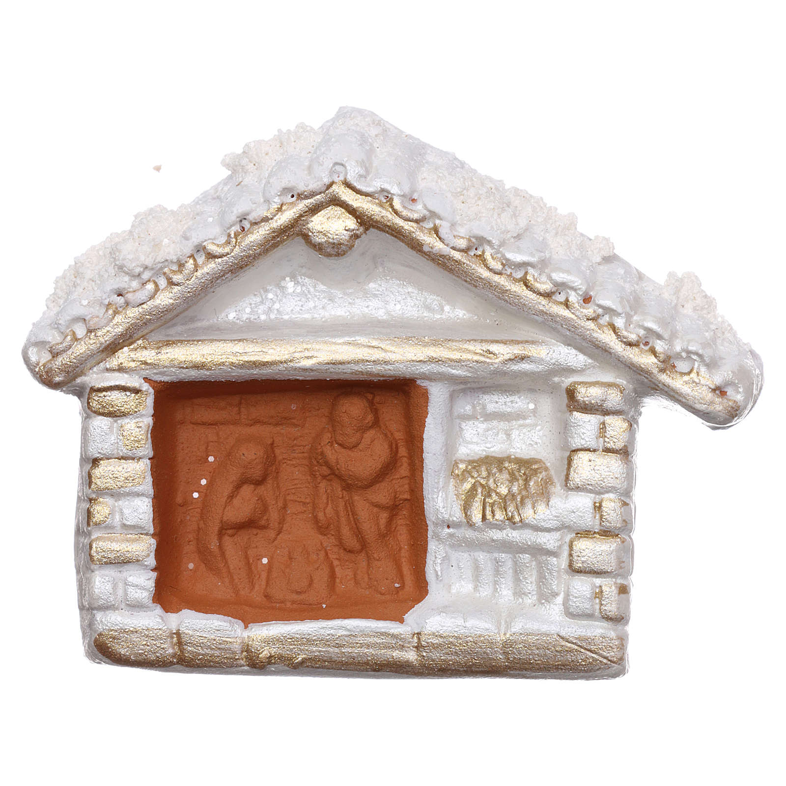 Aimant cabane blanche finition or Nativité terre cuite Deruta 3