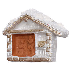 Aimant cabane blanche finition or Nativité terre cuite Deruta s2