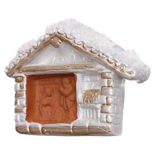 Aimant cabane blanche finition or Nativité terre cuite Deruta 2