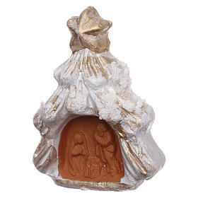 Christmas tree magnet with Nativity in Deruta terracotta, golden and white s2