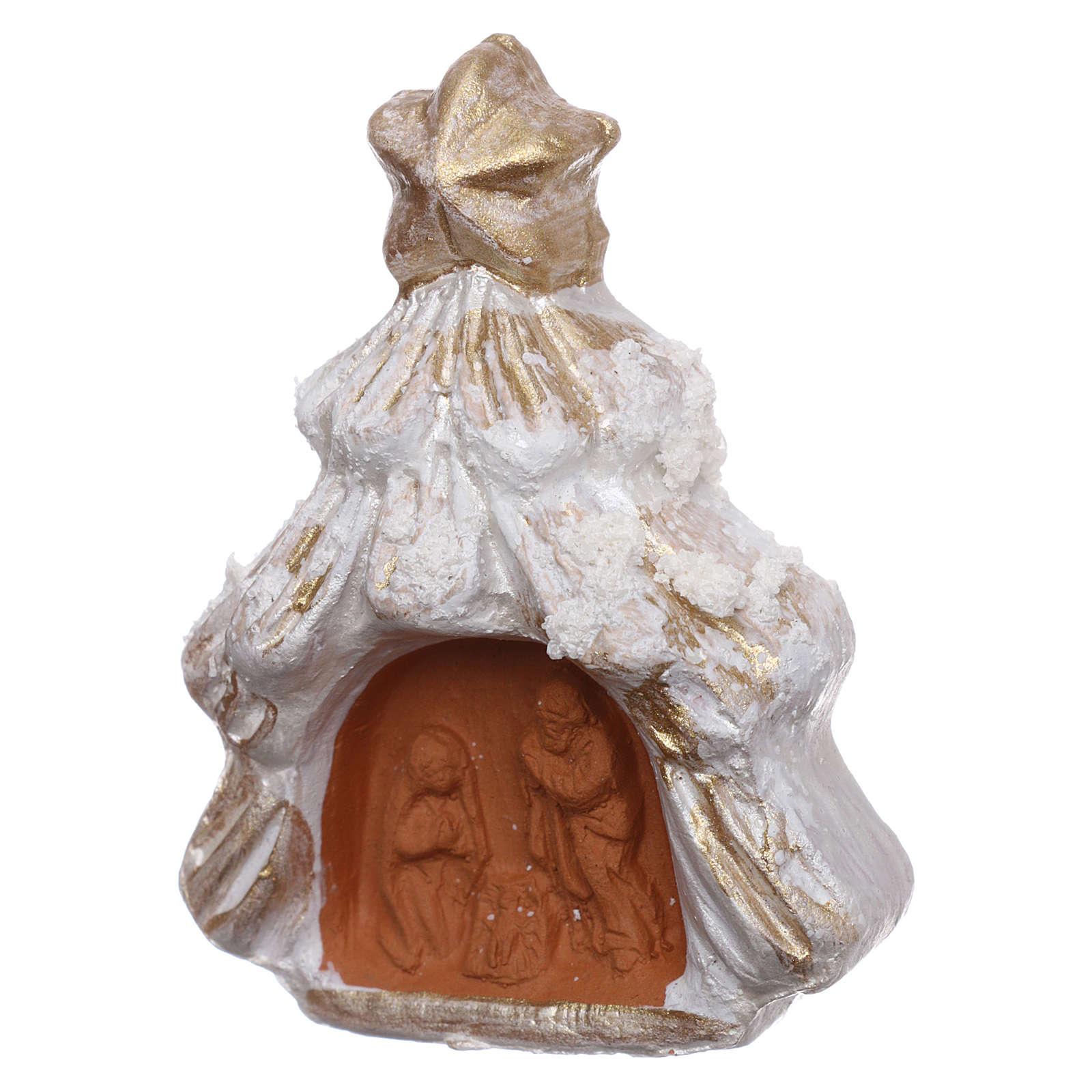 Aimant sapin de Noël enneigé or et blanc avec Nativité terre cuite Deruta 3