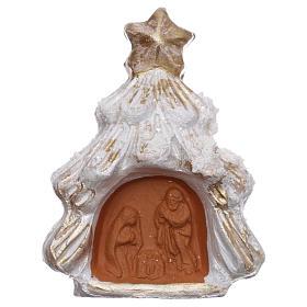Ímanes de Santos, Nossa Senhora e Papas: Íman árvore de natal nevada ouro e branca com Natividade terracota Deruta