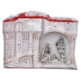 Ímanes de Santos, Nossa Senhora e Papas: Íman casinhas brancas com Sagrada Família terracota Deruta