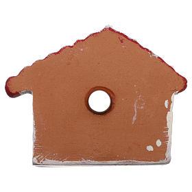 Calamita casetta rosso, oro e bianca con Natività terracotta Deruta s3