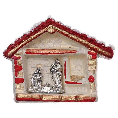Calamita casetta rosso, oro e bianca con Natività terracotta Deruta 1