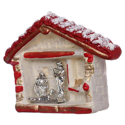 Calamita casetta rosso, oro e bianca con Natività terracotta Deruta 2