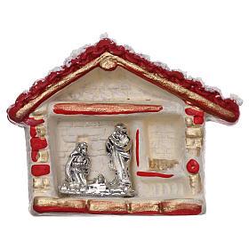 Ímanes de Santos, Nossa Senhora e Papas: Íman casinha vermelha ouro e branca com Natividade terracota Deruta