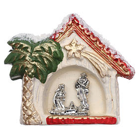 Magnets religieux: Aimant cabane avec palmier doré et Nativité terre cuite Deruta
