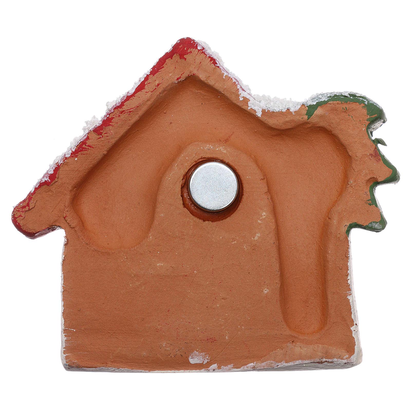 Magnete capanna con palma dorata e Natività terracotta Deruta 3