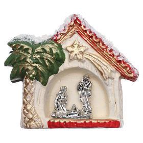 Magnete capanna con palma dorata e Natività terracotta Deruta s1