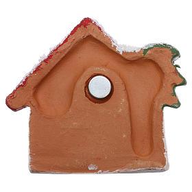 Magnete capanna con palma dorata e Natività terracotta Deruta s3