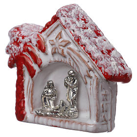Magnete casetta con palma rossa lucina e Sacra Famiglia in terracotta Deruta s2