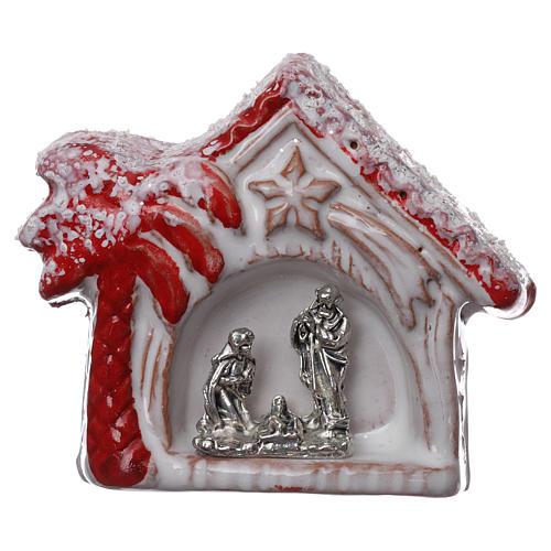 Magnete casetta con palma rossa lucina e Sacra Famiglia in terracotta Deruta 1