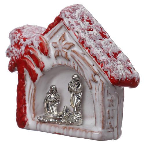 Magnete casetta con palma rossa lucina e Sacra Famiglia in terracotta Deruta 2
