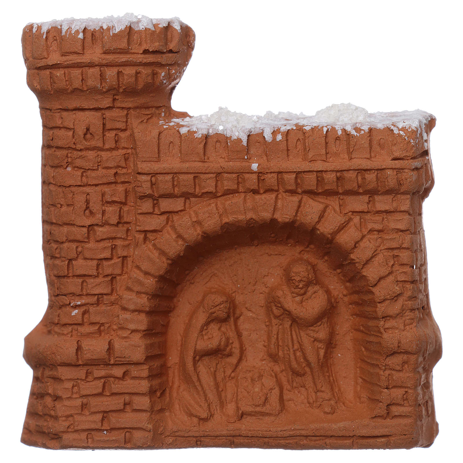 Magnet with Nativity in Deruta terracotta, castle-shaped 3