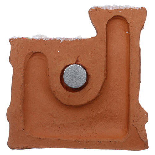 Magnet with Nativity in Deruta terracotta, castle-shaped 2