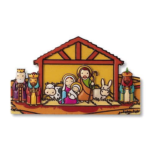 Aimant de Noël Crèche Mages prière Viens Enfant Jésus ITA 1