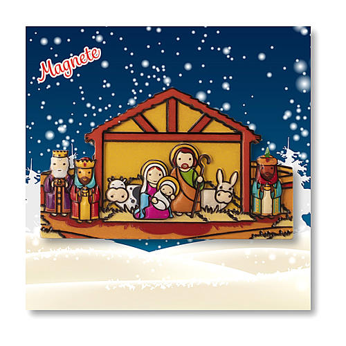 Magnete Natalizio Presepe Magi preghiera Vieni Bambino Gesù 3