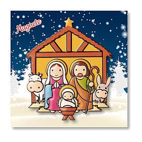 Aimant de Noël Crèche prière L'Enfant Jésus est né ITA s3