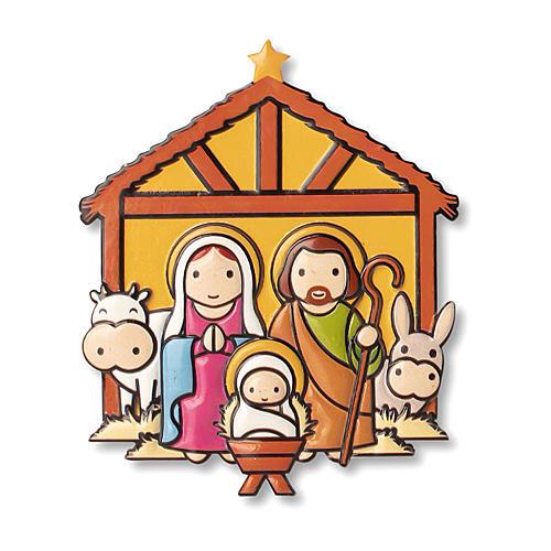 Aimant de Noël Crèche prière L'Enfant Jésus est né ITA 1