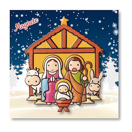 Aimant de Noël Crèche prière L'Enfant Jésus est né ITA 3
