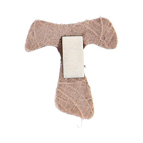 Aimant Tau miniature beige cuir véritable 2
