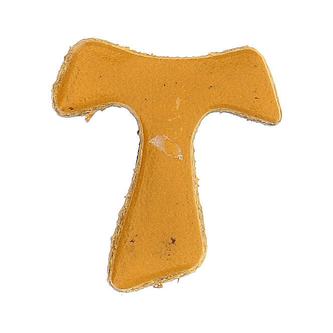 Aimant Tau miniature ocre cuir véritable 3