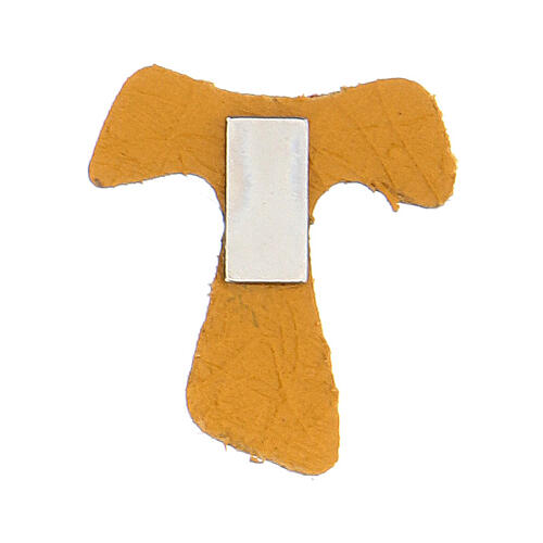 Mini Tau magnet real ochre leather 2
