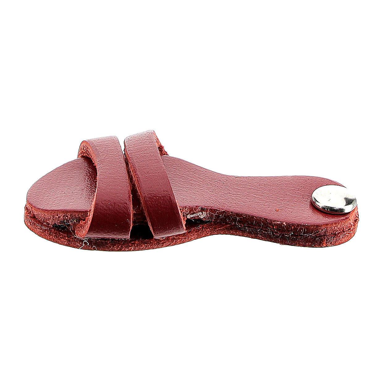 Aimant sandale franciscaine cuir véritable rouge 3