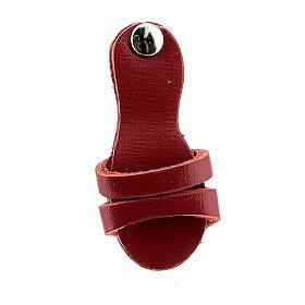 Aimant sandale franciscaine cuir véritable rouge s2