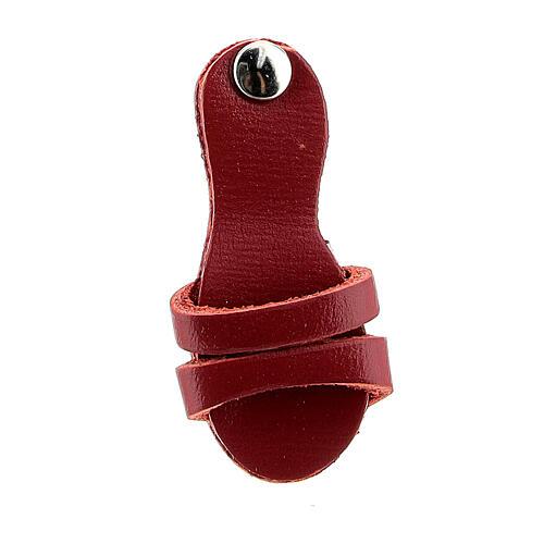 Aimant sandale franciscaine cuir véritable rouge 2